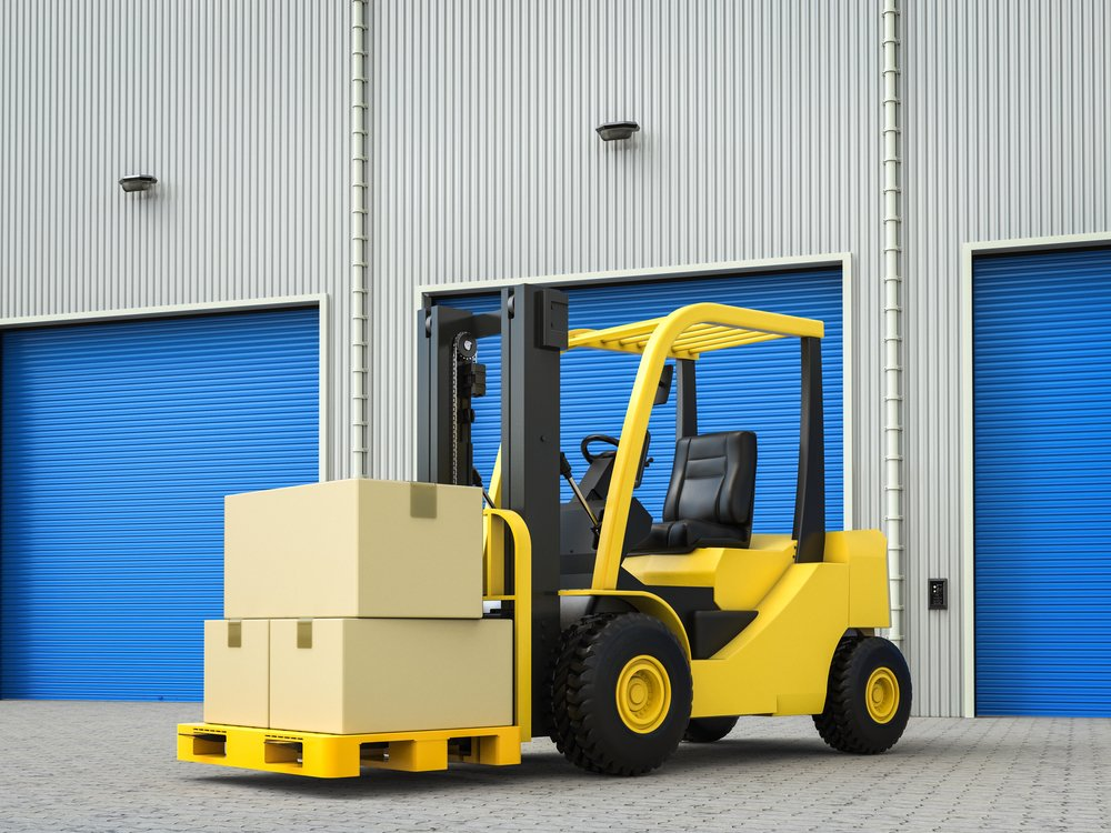 3d rendering forklift truck with boxes in warehouse