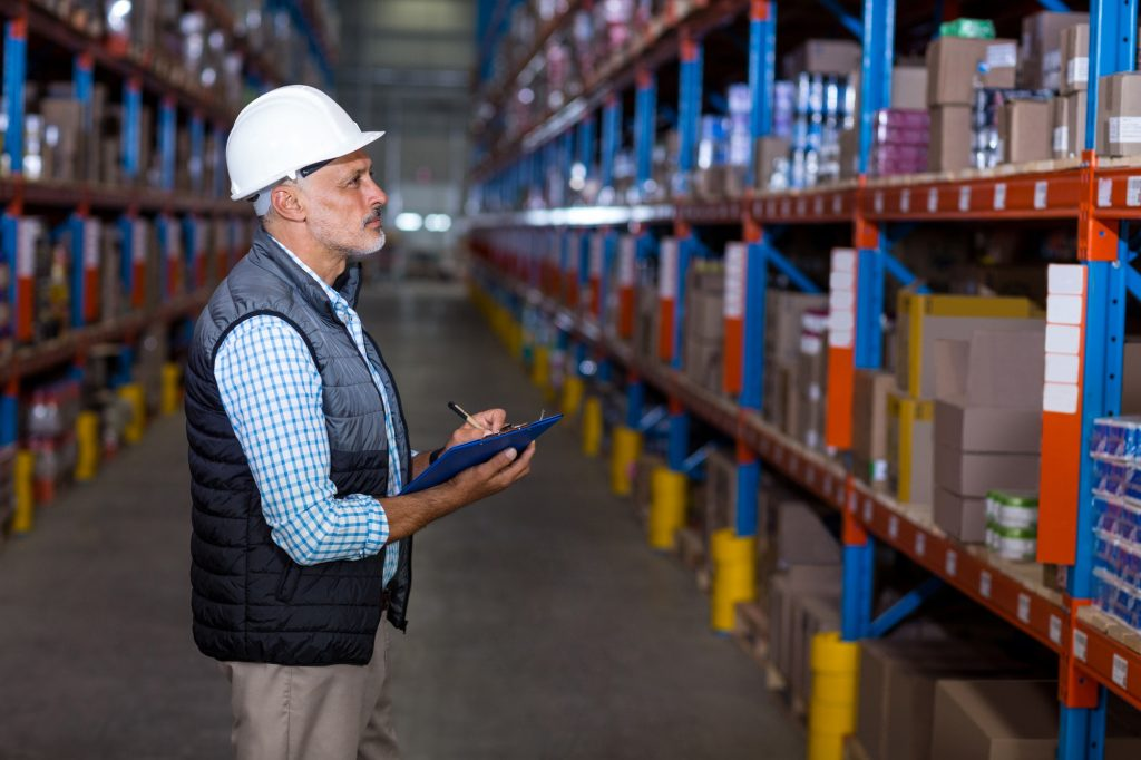 Warehouse worker checking the inventory